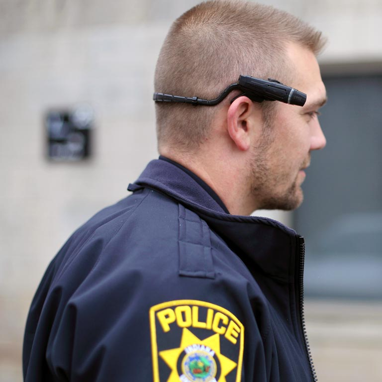 A police officer with a body camera