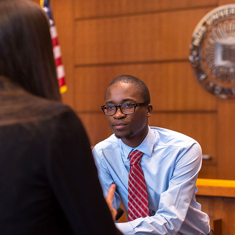 A SPEA student in the courtroom