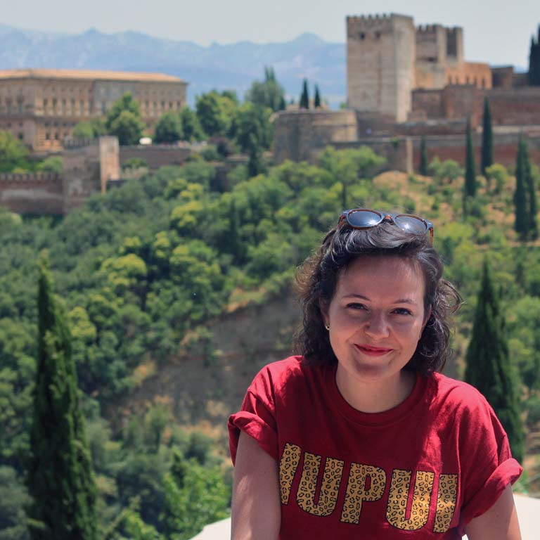 An IUPUI student smiles while abroad in Italy.