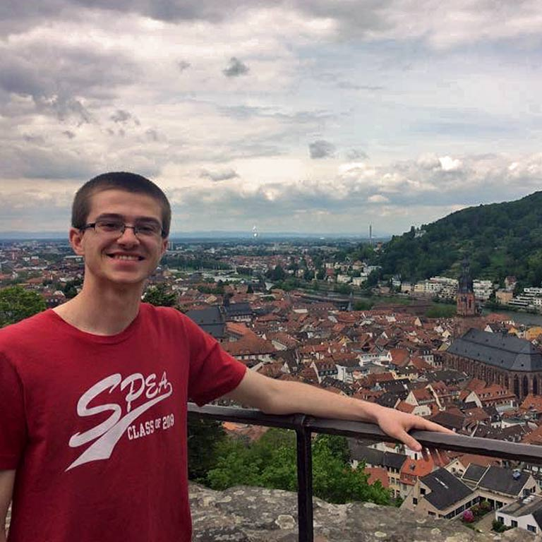 A SPEA student overlooks Heidelberg, Germany.