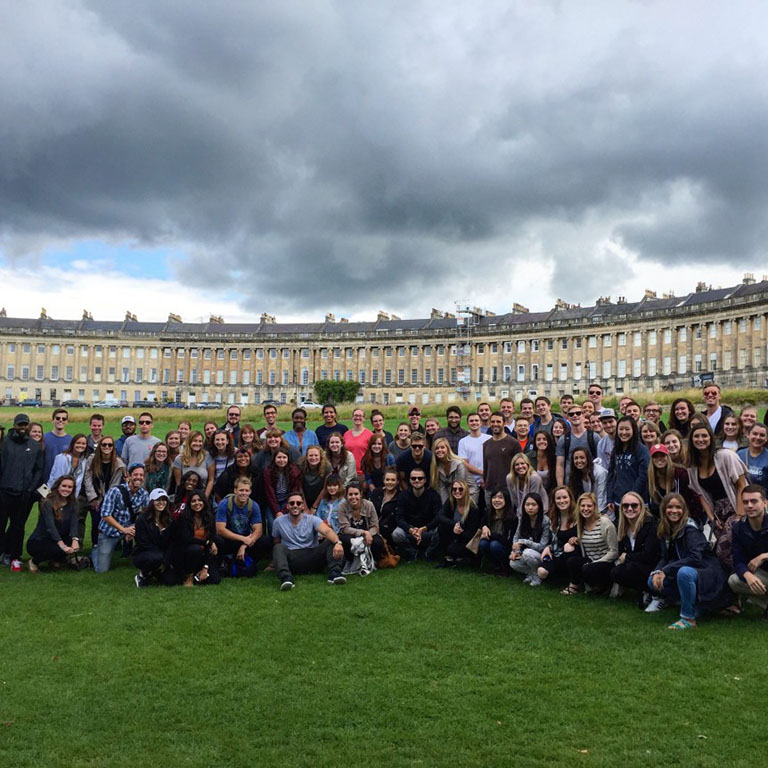 SPEA students stand in front of the Royal Crescent in Bath, England.